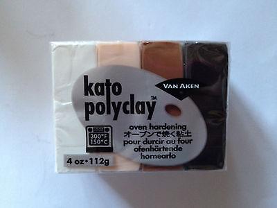 1 panetto kato polyclay 112 gr colori neutri (bianco, beige, marrone, nero)