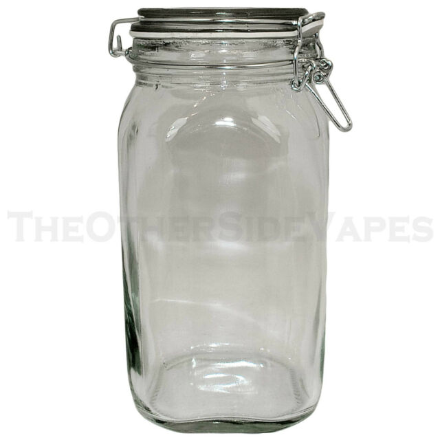 NEW - Wire Bale LARGE CLEAR Latch Top AIR TIGHT Glass Jar with Clear Lid