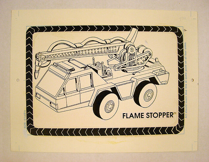 1988 Hot Wheels de Mattel  Tapón de llama  Camión de bomberos obras de arte originales de libro de oro