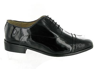 Para Hombre Montecatini Charol Negro Brillante formal Vestido Boda Zapatos Talla 6-12