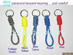 Set-of-2-Paracord-micro-FOB-lanyard-key-ring-keys-remote-control-knife-mobile