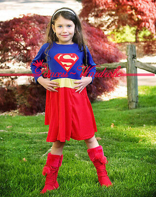 Superman Girl Hero Outfit Girls Kids Child Party Costume Present Gift 2-7Year
