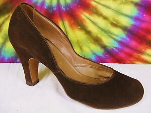 7-5-B-vintage-40-039-s-brown-suede-leather-KERRYBROOKE-babydoll-pumps-shoes