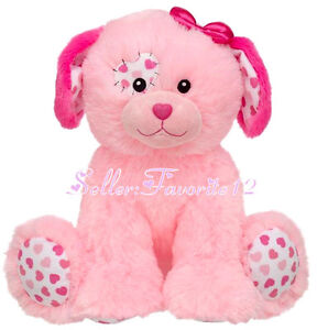 New-Precious-Pink-Patchwork-Hearts-Puppy-Dog-Build-a-Bear-Fluffy-Unstuffed-Toy
