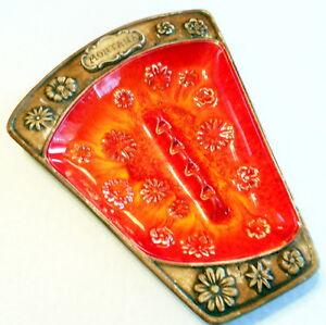 Vintage-Treasure-Craft-Montana-Souvenier-Ashtray-Wood-Grain-Ceramic-Firey-Orange