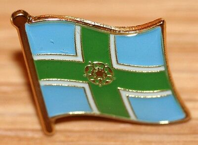 Derbyshire England County Flag Enamel Pin Badge UK Great Britain