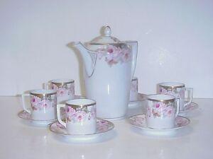 ANTIQUE-GERMAN-WEIMAR-PORCELAIN-TEA-SET-TEAPOT-6-CUPS-amp-SAUCERS-PINK-ROSES