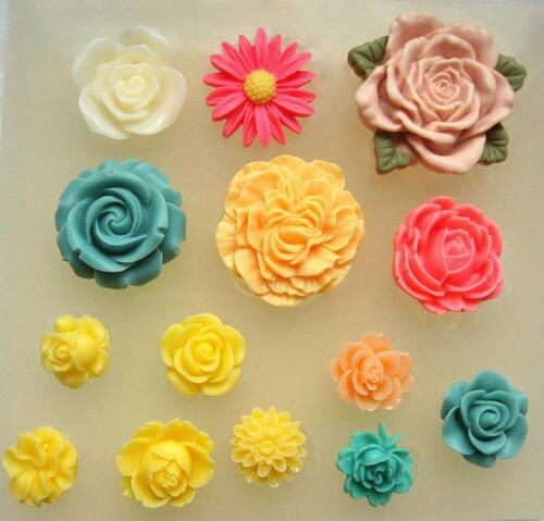 Silicone mould 14 flower set. FOOD USE, wax, resin, fimo, sugarcraft - mold