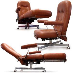 Retro stuhl b rosessel vintage relaxesessel lounge chair leder cognac braun top ebay - Stuhl leder cognac ...