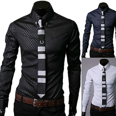 CHEAP!!!Luxury Cool Mens Sexy Slim Fit Long Sleeve Business Formal Dress Shirts