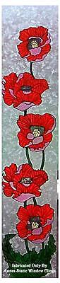 POPPY Door WINDOW CLING DECAL STAINED GLASS LOOK FILM SUN CATCHER DECORATION