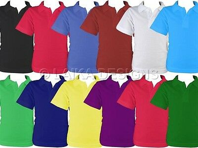 KIDS BOYS GIRLS SCHOOL UNIFORM PIQUE POLO SHIRTS TSHIRT