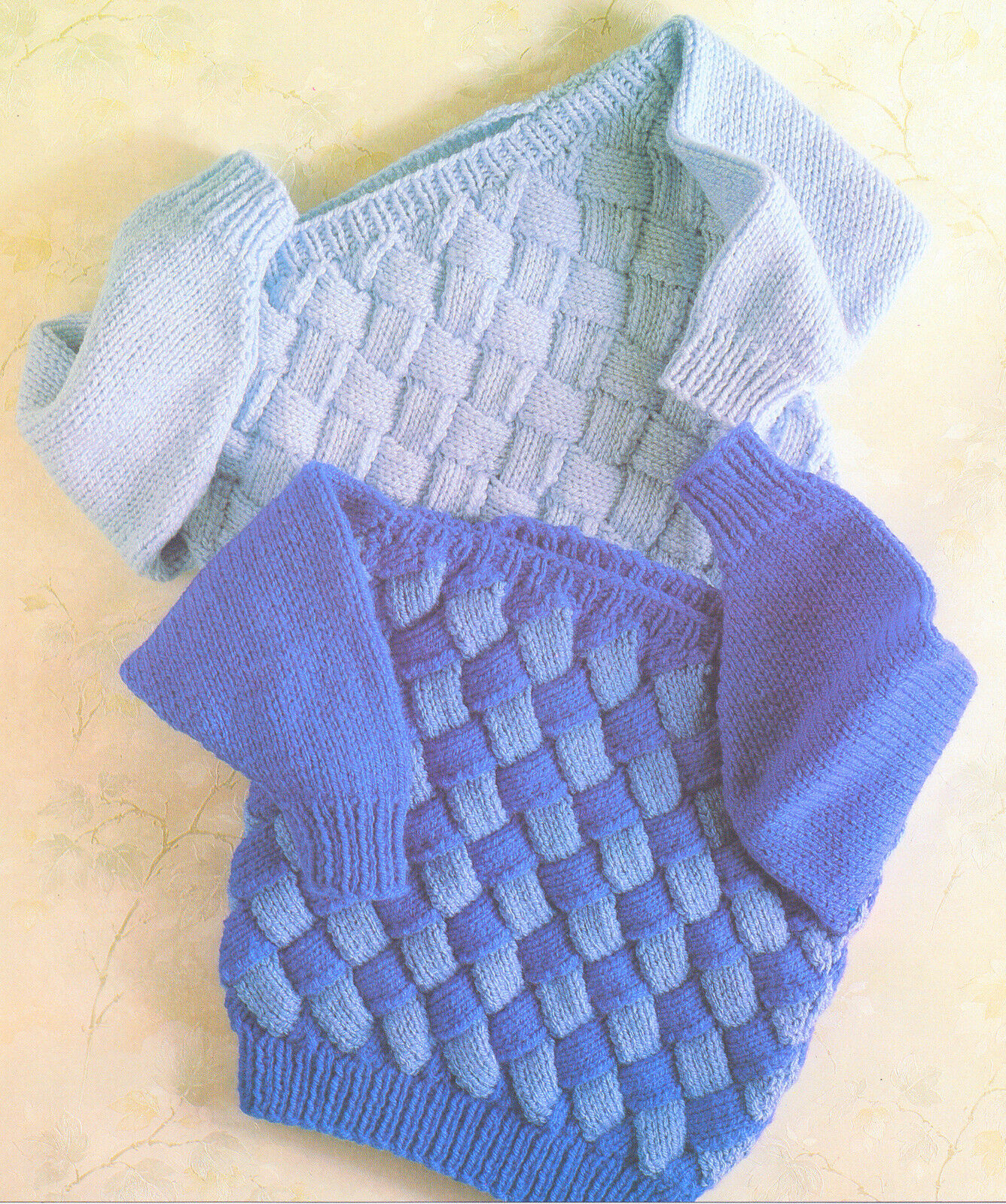 Chunky Wool Baby Childrens Sweaters Entrelac Knitting Pattern 22