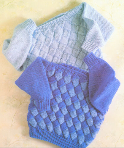 """Chunky Wool Baby Childrens  Sweaters Entrelac  Knitting Pattern  22"""" - 28"""""""