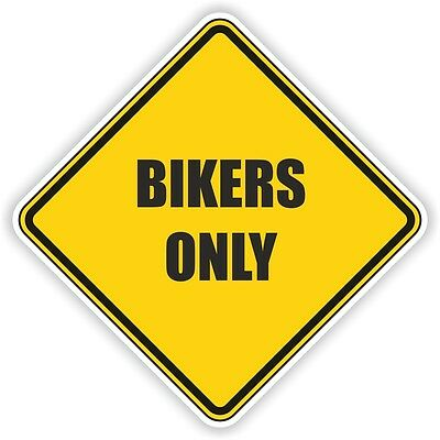 BIKERS ONLY Yellow warning sticker motorcycle car bumper decal caution danger