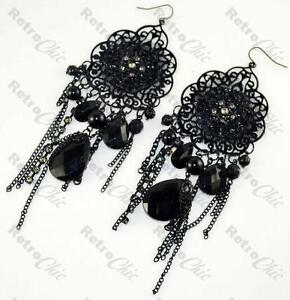 BIG BLACK lace LONG gothic CHANDELIER EARRINGS victorian GOTH ...
