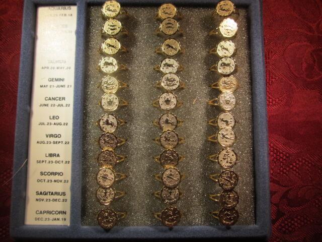 Adjustable Goldtone Zodiac Fashion Ring
