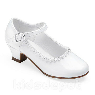 Flower GIRLS Rhinestone KIDS DRESS SHOES Pageant Formal Wedding Party WHITE