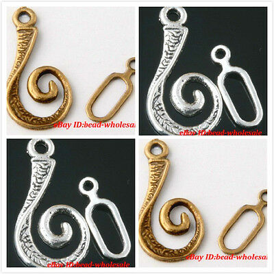 100sets Toggle Clasps Snail Shape Findings Antique Silver/Bronze for Diy