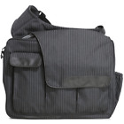 Diaper Dude's DD Flap Messenger II Bag in Retro Black Pin Stripe