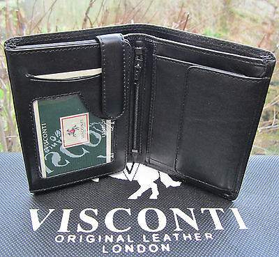 Mens RFID Visconti Wallet Quality Soft Real Leather Black New with Gift Box HT11