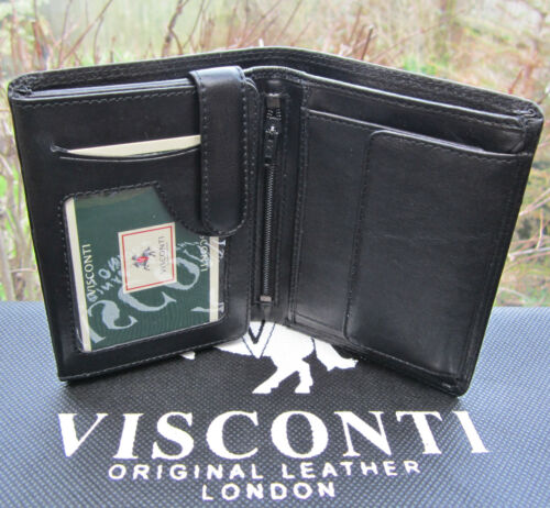 Mens Wallet Soft Real Leather Black Visconti New with Gift Box Quality HT11