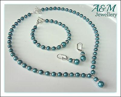 Teal cyan blue pearls jewellery set Necklace Bracelet - Weddings Bride Prom