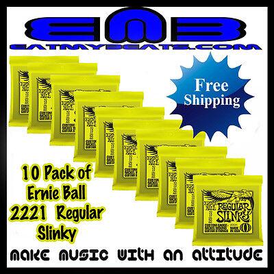 10 PACK! Ernie Ball Regular Slinky Lime 2221 Guitar Strings Free US Shipping