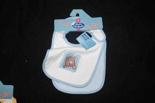 Baby Lätzchen 2 Stück 4 Farben mit Katzenmotiv Klettverschluss NEU