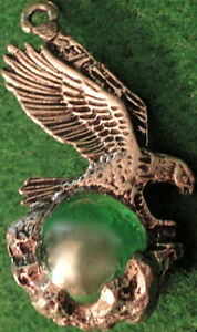 Pewter-EAGLE-Charm-Pendant-1-75-tall-Holding-5-Diameter-Lite-Green-Stone