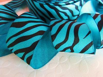 "5 /25 yards Grosgrain 1.5"" Craft Ribbon-Wild Animal Zebra Strip R141-Blue/Black"