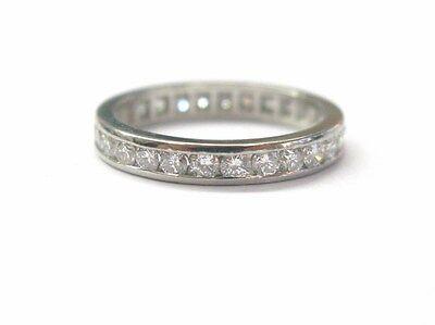Platinum Round Cut Diamond Channel Setting Eternity Ring .88CT Sz 5
