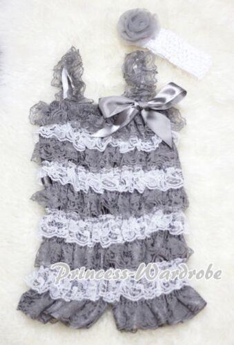 NewBorn Baby Grey White Lace Chiffon Romper Jumpsuit Headband 2PCS Set NB-3Year