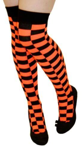 Ladies controllato sopra il ginocchio coscia alta Calze A Strisce Clown Costume Joker