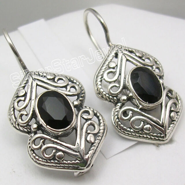 925 Solid Silver Real OVAL BLACK ONYX Gorgeous OLD STYLE Earrings 1 1/8 inches