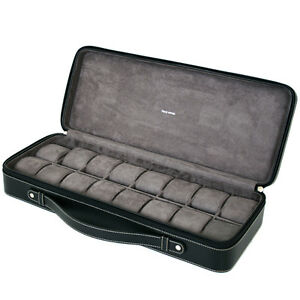 16-Watch-Case-for-Collectors-Travel-Style-Briefcase-Black-Leather-XL-TS5851BLK