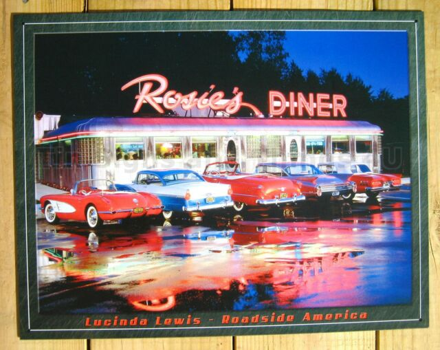 Rosie's 5 Antique Vtg Car photo TIN SIGN corvette chevy bel-air  diner ad 1128-A