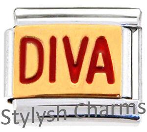 DIVA-PRINCESS-SPOILED-Enamel-Italian-Charm-9mm-1-x-NC210-Single-Bracelet-Link