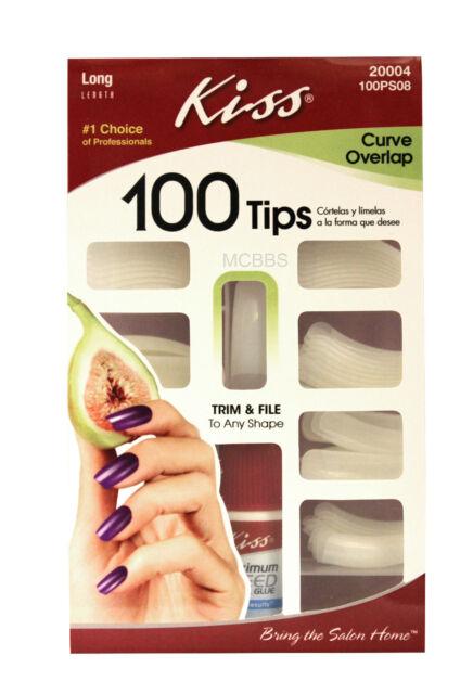 KISS LONG LENGTH CURVE OVERLAP GLUE-ON NAIL TIPS KIT 100-CT. (100PS08)