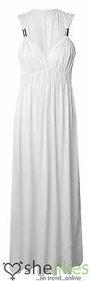 Womens Sleeveless Spring Coil Maxi Dress Ladies Long Jersey Stretch Maxi Dress