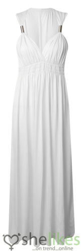 Womens Sleeveless Spring Coil Maxi Dress Ladies Long Jersey Stretch Maxi Dress