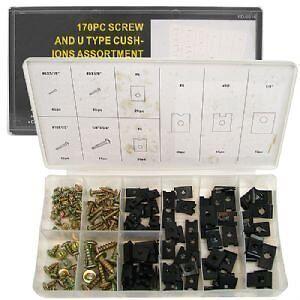 ★ 170 Pc U-CLIP and SCREW KIT - DASH DOOR TRIM SEAT TRUNK Speed Clip Kit ★