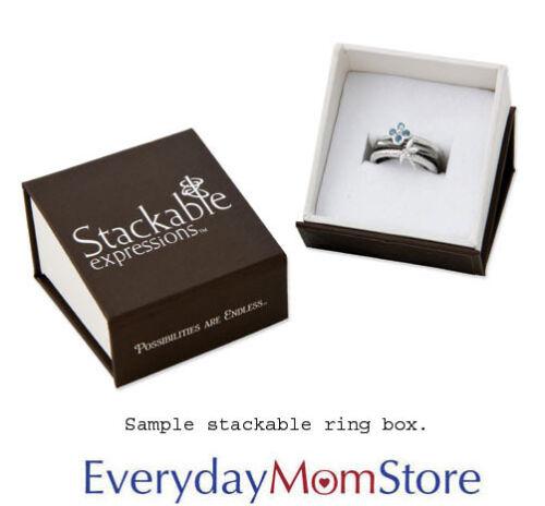 June Birthstone Ring QSK355 Silver Stackable Ring Round Rhodolite Garnet Stones