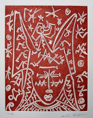 "ANDRE MASSON Signed 1976 Original Color Aquatint from ""Chants d'Ombre"""