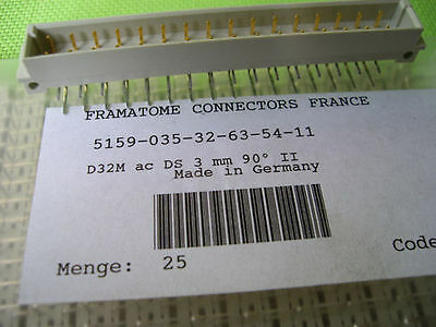 Lot 25 x Connector mâle DIN41612 32 points a+c coudé à souder