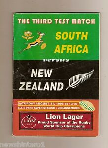 #T4. RUGBY UNION PROGRAM - SOUTH AFRICA V NEW ZEALAND, AUGUST 31st 1996