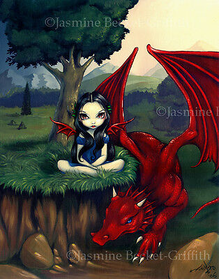 Jasmine Becket-Griffith art print SIGNED Red Dragon fairy fantasy landscape