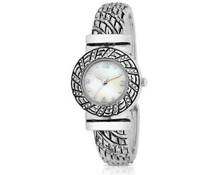 Bangle-by-FMD-White-Mother-of-Pearl-Dial-Japan-Quartz-Metal-Bangle-Ladies-039-Watch
