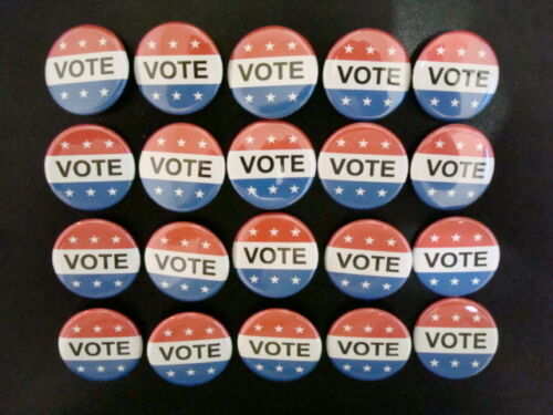"""WHITE /& BLUE Election Campaign Pinback NEW 20-PACK VOTE BUTTON Badge 1-1//4/"""" RED"""