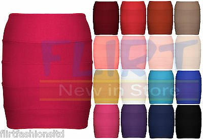 Womens Bandage Bodycon Skirt Ladies Ribbed Panel Stretch Mini Party Skirts NEW